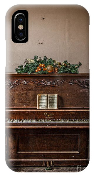 Christmas Card With Piano In Old Church IPhone Case