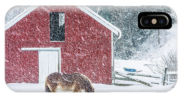 New England Barn iPhone Case - Christmas Eve Blizzard Stowe Vermont Square by Edward Fielding