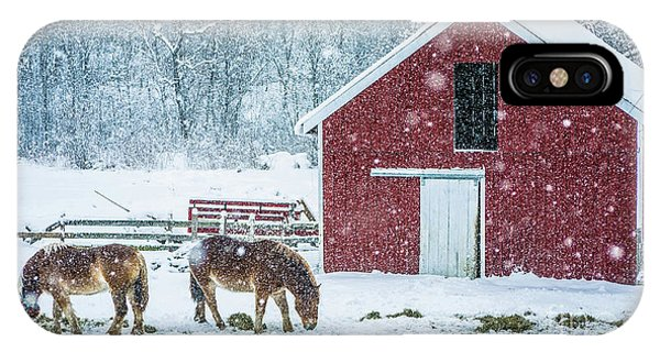 New England Barn iPhone Case - Christmas Eve Snow Storm Stowe Vermont by Edward Fielding