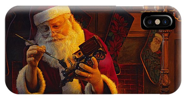 Santa Claus iPhone Case - Christmas Eve Touch Up by Greg Olsen