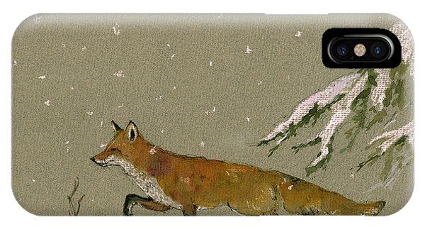 In iPhone Case - Christmas Fox Snow by Juan  Bosco