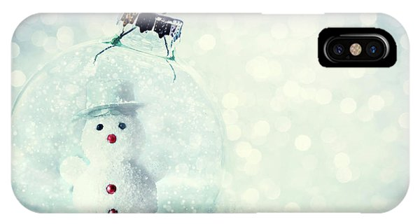 Frost Glass iPhone Case - Christmas Glass Ball With Snowman Inside. Snow And Glitter by Michal Bednarek