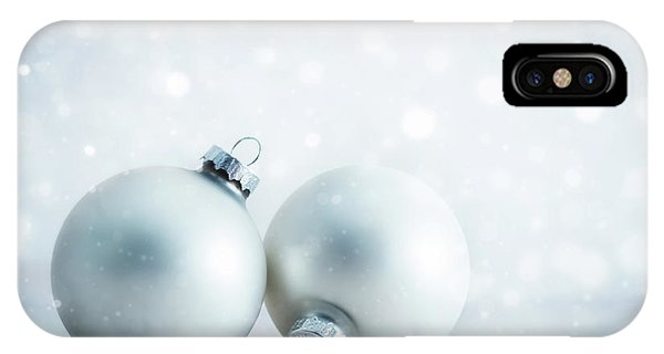 Frost Glass iPhone Case - Christmas Glass Balls Decoration On Frosty Glitter Background by Michal Bednarek