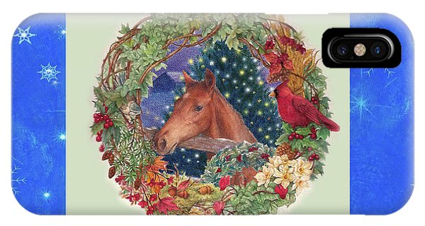 Christmas Horse And Holiday Wreath IPhone Case