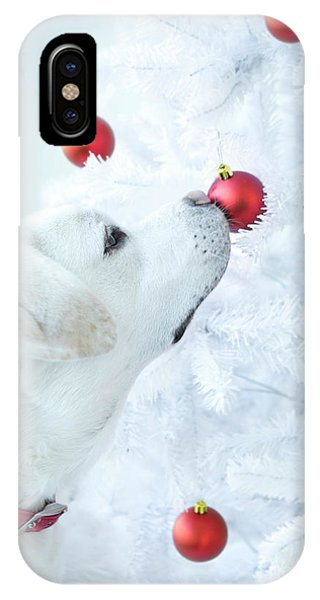 Yellow Lab iPhone Case - Christmas Lab by Diane Diederich