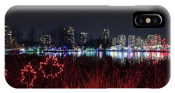 Christmas Lights At Lafarge Lake In City Of Coquitlam IPhone Case
