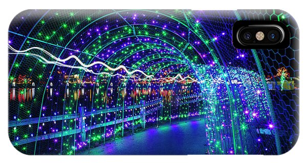 Christmas Lights In Tunnel At Lafarge Lake IPhone Case