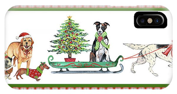 Sled Dog iPhone Case - Christmas Parade-a by Jean Plout