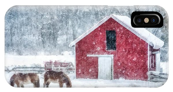 New England Barn iPhone Case - Christmas Snowstorm Vermont Watercolor by Edward Fielding