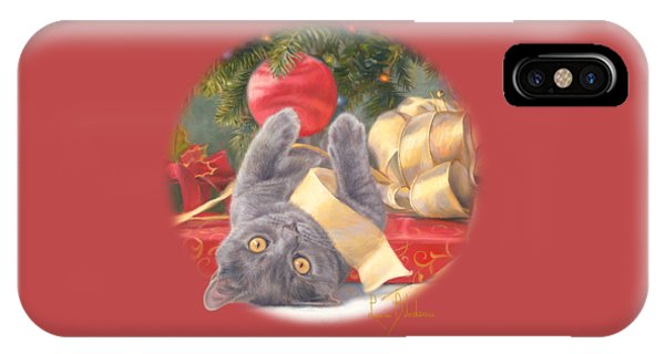 Kitten iPhone Case - Christmas Surprise by Lucie Bilodeau