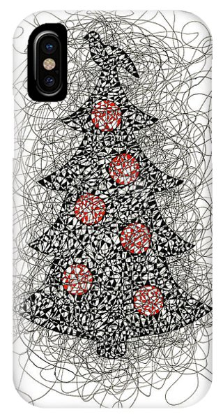 Christmas Tree Pen And Ink Drawing IPhone Case