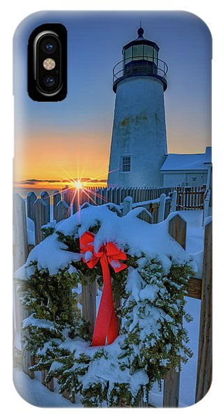 Navigation iPhone Case - Christmas Wreath And Pemaquid Point by Rick Berk