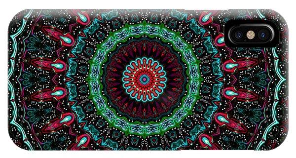 IPhone Case featuring the digital art Christmas Wreath Kaleidoscope by Joy McKenzie