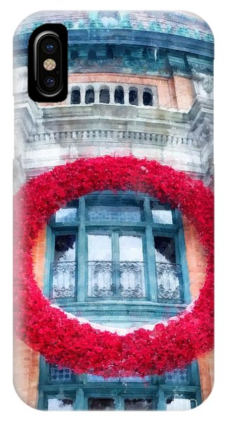 Quebec City iPhone Case - Christmas Wreath Old Quebec City by Edward Fielding
