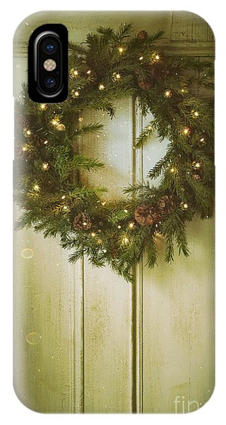 Christmas Wreath With Lights On Vintage Door IPhone Case