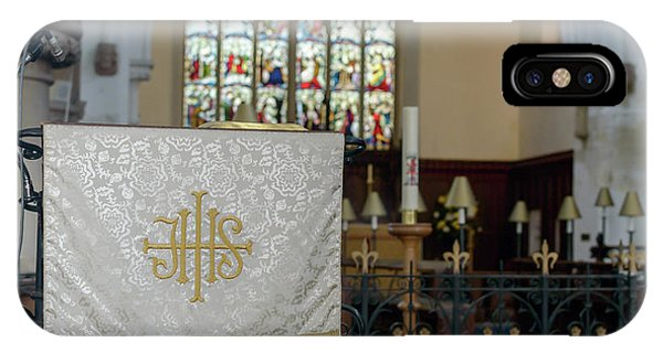 IPhone Case featuring the photograph Christogram Ihs On Pulpit Cloth In Gothic English Church by Jacek Wojnarowski