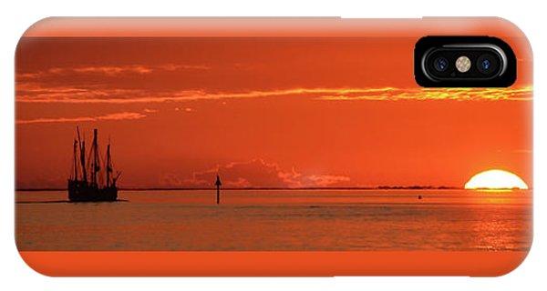 Christopher Columbus Sailing Ship Nina Sails Off Into The Sunset Panoramic IPhone Case