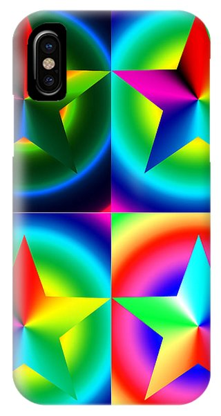 Chromatic Star Quartet With Ring Gradients IPhone Case