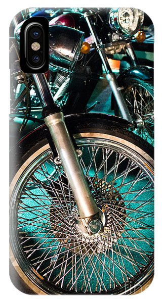 Chrome Rim And Front Fork Of Vintage Style Motorcycle IPhone Case