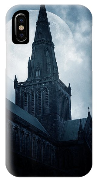 Moon iPhone X Case - Glasgow Cathedral by Cambion Art
