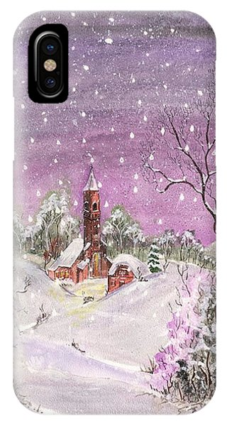IPhone Case featuring the digital art Church In The Snow by Darren Cannell
