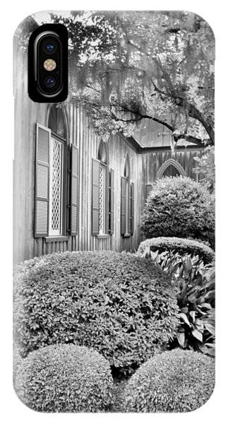 IPhone Case featuring the photograph Church Of The Cross Bluffton Sc Black And White by Lisa Wooten