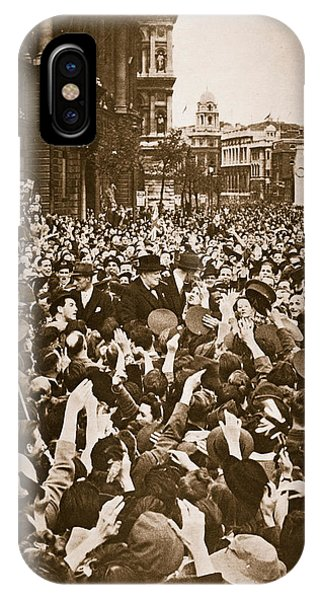 Prime Minister iPhone Case - Churchill Mobbed In Whitehall On Ve Day by English School