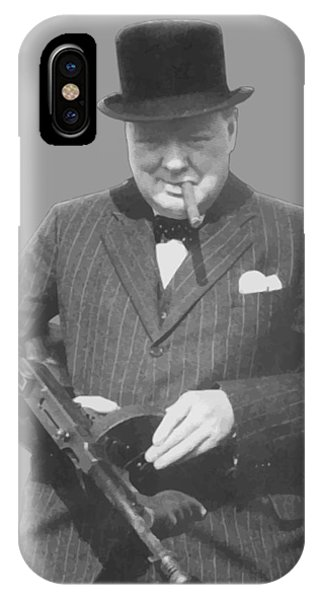 England iPhone Case - Churchill Posing With A Tommy Gun by War Is Hell Store