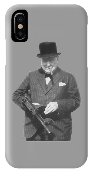 Prime Minister iPhone Case - Churchill Posing With A Tommy Gun by War Is Hell Store