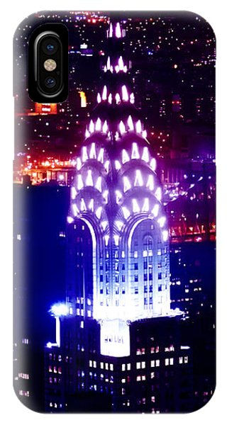 Chrysler Building iPhone Case - Chyrsler Lights by Az Jackson