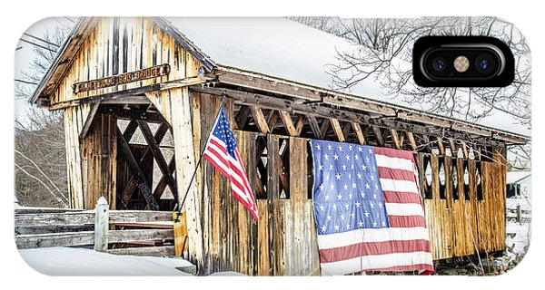 New Hampshire iPhone Case - Cilleyville Bog Bridge Covered Bridge New Hampshire by Edward Fielding