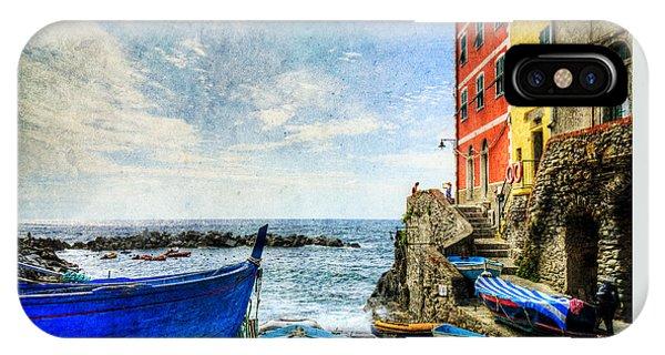 Cinque Terre - Little Port Of Riomaggiore - Vintage Version IPhone Case