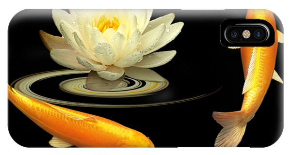 Circle Of Life - Koi Carp With Water Lily IPhone Case