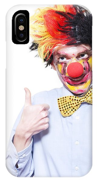 Endorsement iPhone Case - Circus Clown With Thumb Up To Carnival Advertising by Jorgo Photography - Wall Art Gallery