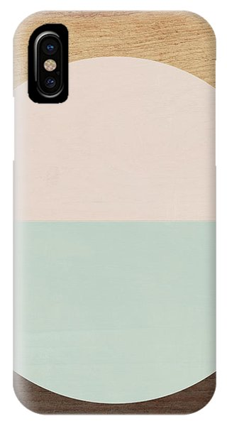 Wood iPhone Case - Cirkel In Peach And Mint- Art By Linda Woods by Linda Woods
