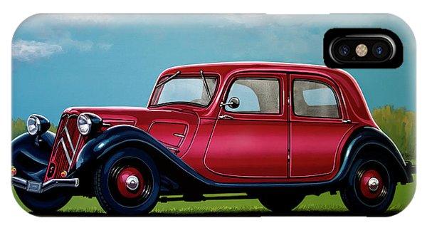 Oldtimer iPhone Case - Citroen Traction Avant 1934 Painting by Paul Meijering