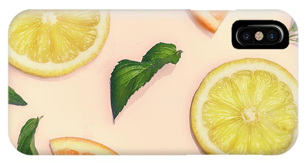 Smoothie iPhone Case - Citrus Pattern On Retro Pink Background by Jelena Jovanovic