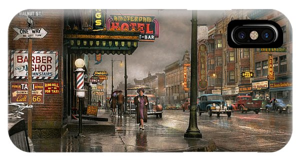 Gloomy iPhone Case - City - Amsterdam Ny -  Call 666 For Taxi 1941 by Mike Savad