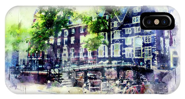 city life in watercolor style - Old Amsterdam  IPhone Case