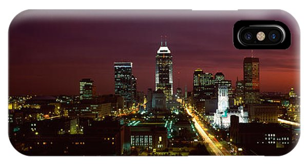 City Lit Up At Night, Indianapolis IPhone Case