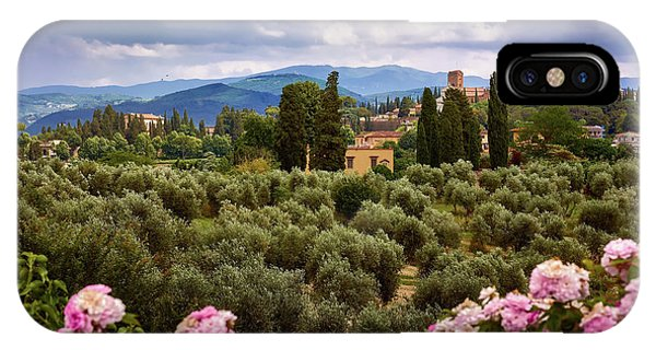 Tuscan Landscape With Roses And Mountains In Florence, Italy IPhone Case