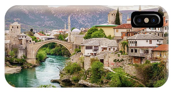 Mostar iPhone Case - City Of Mostar And Neretva River by Alexey Stiop