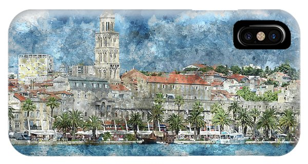 City Of Split In Croatia With Birds Flying In The Sky IPhone Case