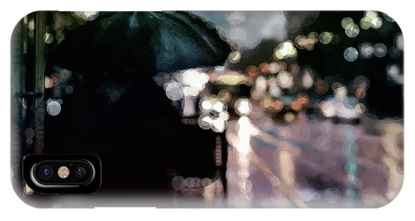 IPhone Case featuring the mixed media City Rain by Susan Maxwell Schmidt