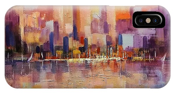 IPhone Case featuring the painting Cityscape 2 by Rosario Piazza