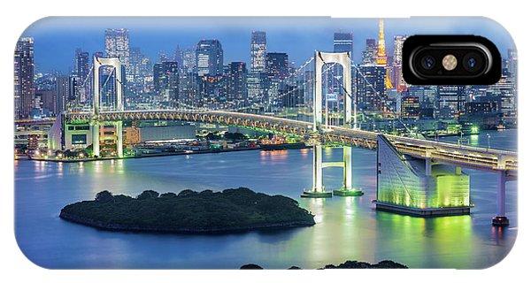 Odaiba iPhone Case - Cityscape At The Rainbow Bridge, Tokyo, Japan by Gheorghi Pentchev