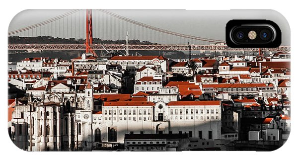 Lisbon In Black, White And Red IPhone Case