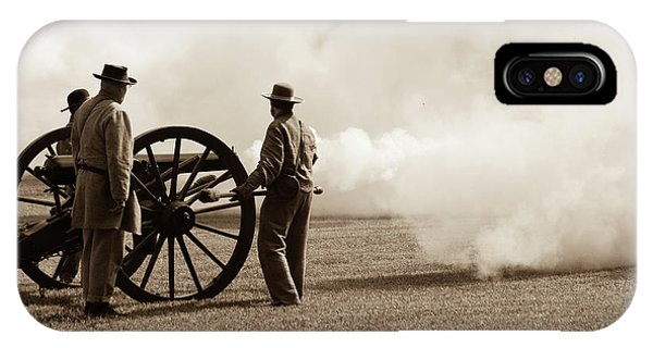 IPhone Case featuring the photograph Civil War Era Cannon Firing  by Doug Camara