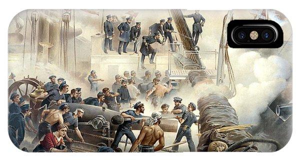 Ship iPhone Case - Civil War Naval Battle by War Is Hell Store