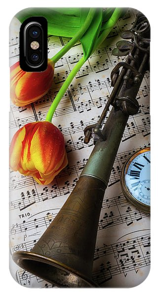 Clarinet And Tulips IPhone Case